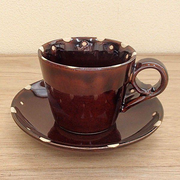 コーヒーカップソーサー 飴釉ドット 土物 陶器 和食器 業務用食器 商品番号.